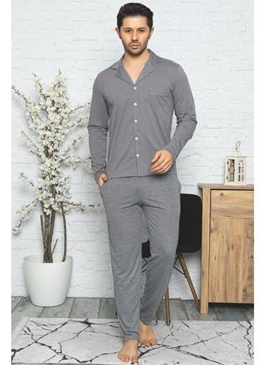 Pemilo Erkek 8500 Yakalı Boydan Düğmeli Pamuklu Pijama Takımı LACİVERT Antrasit